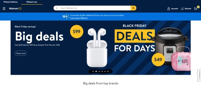 This screenshot of the home page for Walmart has a dark blue header and search bar, a secondary royal blue announcement bar, and a dark blue main section with white text, yellow elements, and a photo of white ear buds.