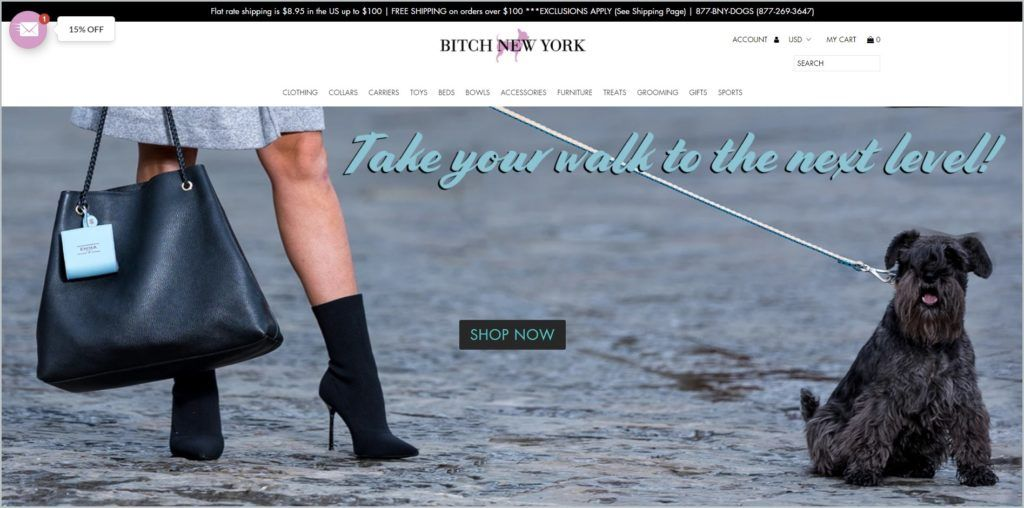 This screenshot of Bitch New York homepage has a black announcement bar, white header with the website name and main navigation bar, with an image showing a small black dog on a leash and a woman in black mini boots and bag, and short skirt.