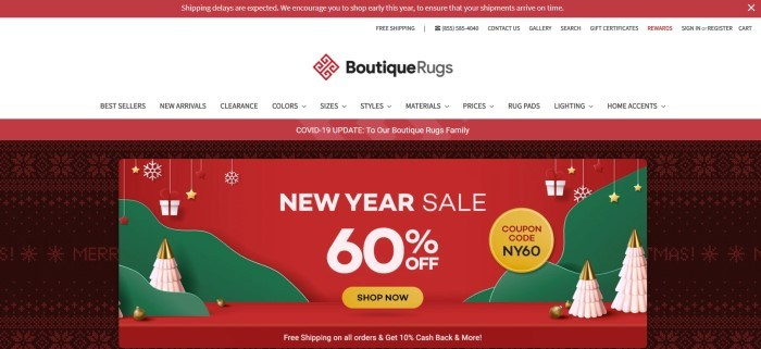 This screenshot of the home page for Boutique Rugs has a red header, a white navigation bar with black text, a red announcement bar, and a main section with graphics including a black and red knit background and a red, white, and green sales graphic with white text and a yellow call to action button.