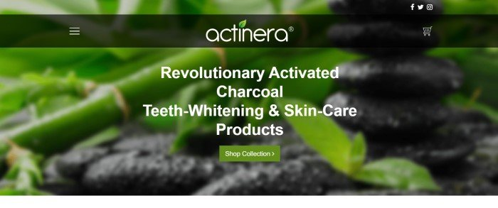 This screenshot of the home page for Actinera has a green bamboo background behind a dark filtered navigation section and white text, along with a green call to action button at the bottom of the page.