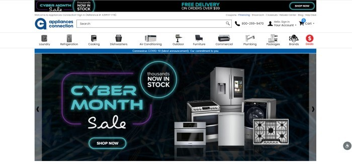 This screenshot of the home page for Appliances Connection has a black header, a white search bar and navigation bar showing tiny product photos for each category of appliance, and a black main section with aqua and white text on the left side of the page, with a product photo of a stainless steel refrigerator on the right side of the page.