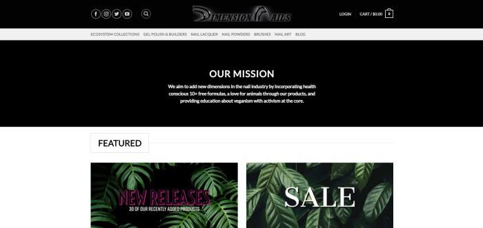 This screenshot of the home page for Dimension Nails has a black header, a white navigation bar, and a black main section with white text above a white featured section with two photos of green plants behind white, black, and pink text links.