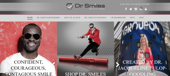 This screenshot of the home page for Dr. Smiles has a gray header and navigation bar above a row of three photos showing a dark skinned man with a brilliant white smile, wearing a white shirt, standing in front of a red background on the left side of the page, a dancing man with sunglasses, a red jacket, and a white smile in the center section of the page, and a photo of the orthodontist who created the Dr. Smiles whitening materials on the right side of the page, with text in black and white throughout the page.