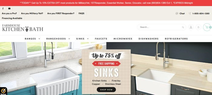 This screenshot of the home page for Farmhouse Kitchen And Bath has a red header, a tan navigation bar, a secondary cream colored navigation bar, and a split main section with photos on each side showing beautiful kitchen sinks behind a tan announcement section with black and white text, red elements, and a black call to action button.