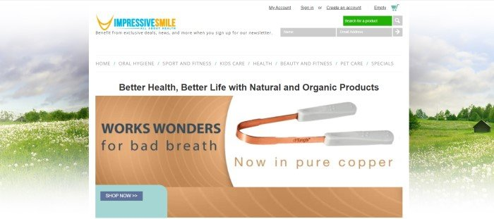 This screenshot of the home page for Impressive Smile has a white main section overlaying a photo of a rural summer setting, with gray, black, and brown text in the main section, along with a product photo and a brown graphic text section with black text and a blue call to action button.