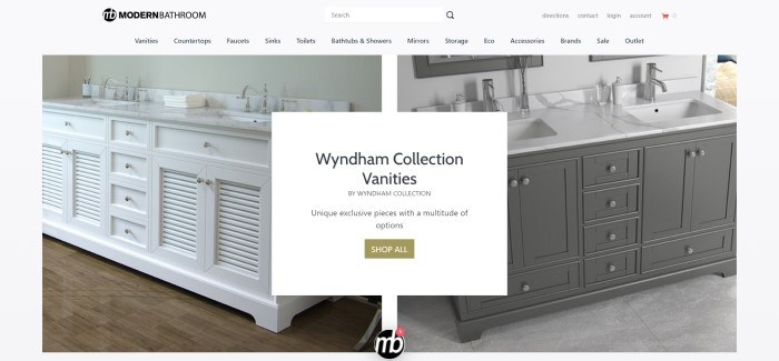 This screenshot of the home page for Modern Bathroom has a cream colored header, search bar and navigation bar with black text above a split main section with photos of beautiful bathroom vanities on each side of the page, behind a white text section with black text and an olive green call to action button.