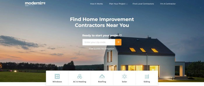 This screenshot of the home page for Moderinize shows a small modern home against farmland at sunset, behind white text and a white and orange quote search window.