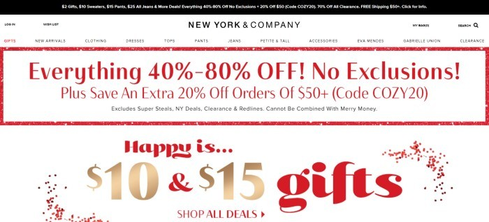 This screenshot of the home page for New York And Company has a black announcement bar, a white navigation bar, and a white main section with sales information in red, gold, and black text.