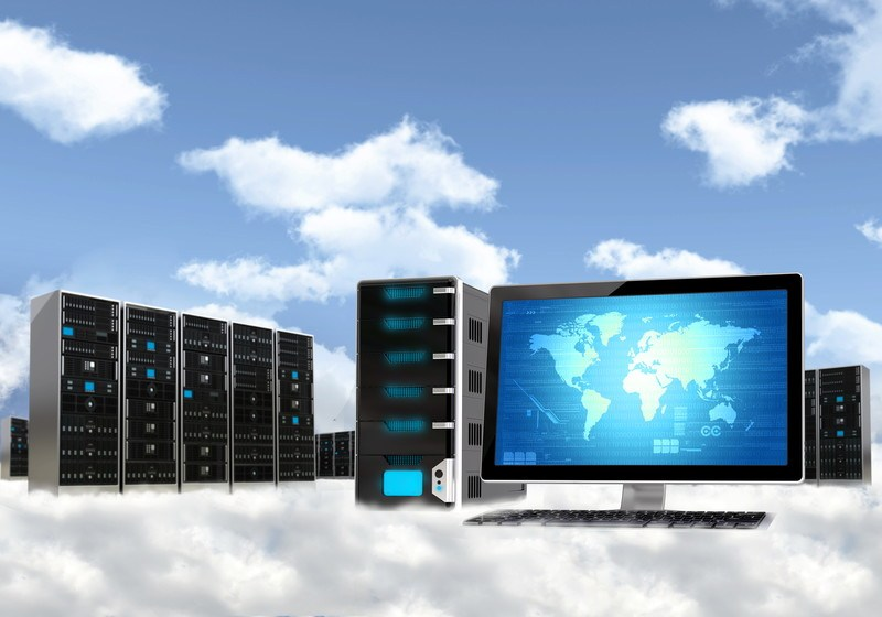 This image shows a blue computer screen with a world map on it, surrounded by servers on a cloud in a blue sky, representing the top ten cloud hosting affiliate programs.