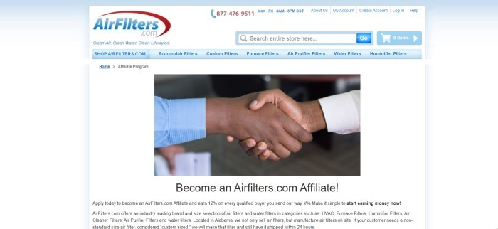 This screenshot of the affiliate webpage for Airfilters.com has a white background, a logo in blue and red, a blue navigation bar, and a photo of two men in business shirts shaking hands above a white section with black text.