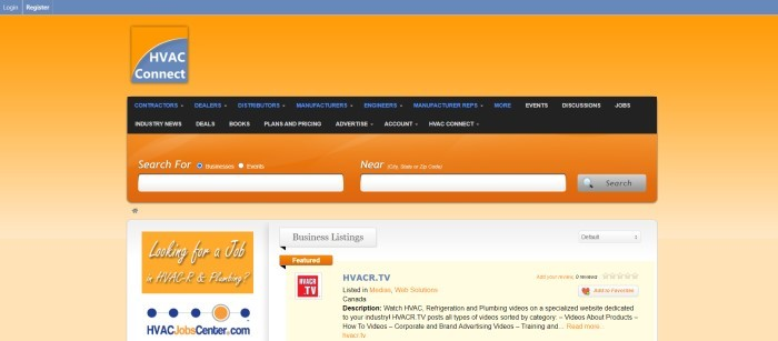 This screenshot of the home page for HVAC Connect has a gray header, an orange background with an orange and gray logo, a black navigation bar with blue and white text, an orange search bar, and a white section with orange features and text in black, blue, and orange.