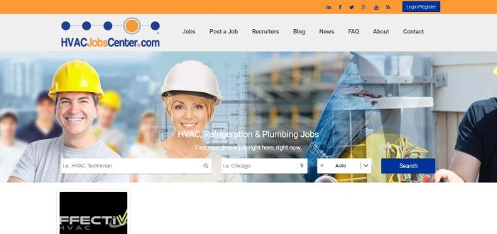 This screenshot of the home page for HVAC Jobs Center has an orange header, a white navigation bar with black text, an orange and blue logo, and a large photo showing a smiling man and smiling woman in hard hats in front of several blurry HVAC elements, along with white text and a row of white and blue navigation buttons.