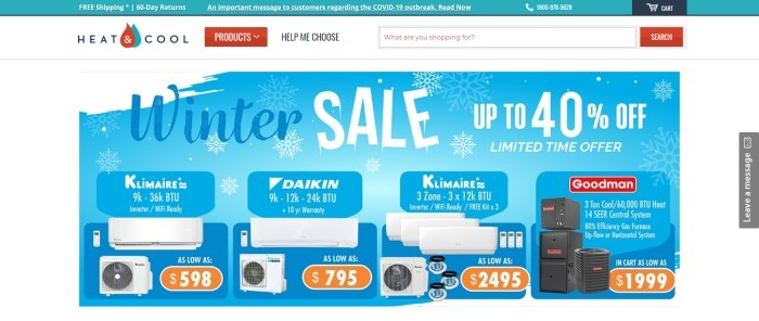 This screenshot of the home page for Heat And Cool has a teal header, a white background and navigation bar with a red tab marker, and a blue and white graphic main section featuring white and blue text, snowflakes, and product photos with orange price markers on them.