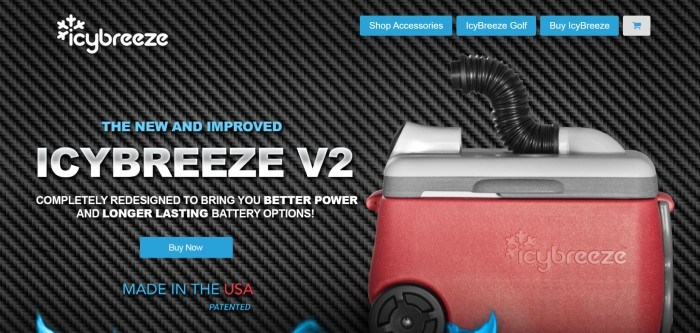 This screenshot of IcyBreeze has a black rippled background with a white logo in the upper left corner, blue navigation buttons on the upper right, and blue and gray text in the main section of the page, along with an image on the right side of the page of a portable air conditioner cooler in red and white.