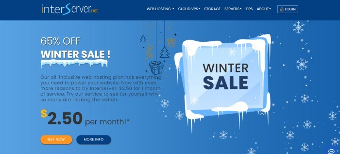This screenshot of the home page for InterServer has a dark blue header with white, blue, and orange text above a paler blue main section with white text and black on the left side of the page and graphic elements of snow and Christmas items on the right side of the page, as well as blue and orange call to action buttons.