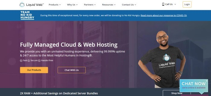 This screenshot of the home page for Liquid Web includes a white navigation bar with black text, a blue announcement bar with white text, and a purple filtered photo of servers behind white text and an inserted photo of a smiling man in glasses and a dark shirt, as well as orange call to action buttons.