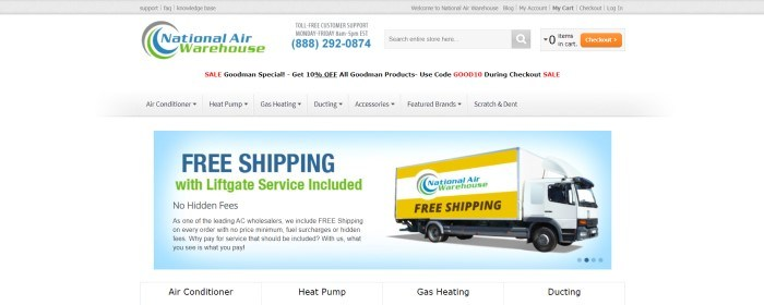This screenshot of the home page for National Air Warehouse has a gray header, a white background, a gray navigation bar with black text, and a light blue main section with blue, green, and black text, as well as an image of a yellow and white National Air Warehouse delivery truck.
