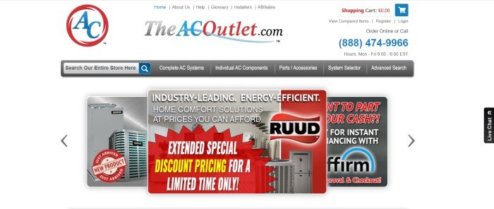 This screenshot of the home page for The AC Outlet has a white main section and header with red and blue logos and text, along with black text, a gray navigation bar with white text, and a main section with accordion-style sliding advertisements featuring HVAC products with product photos and graphic elements in gray, red, white, and yellow.