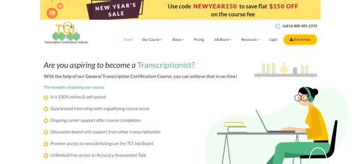 This screenshot of the home page for Transcription Certification Institute has a yellow announcement bar above a white navigation bar with yellow and green elements and black text, as well as a white main section with black and green text and graphics in mostly yellow and green showing a woman in a green headset typing on a laptop at a table with stacked books on it.