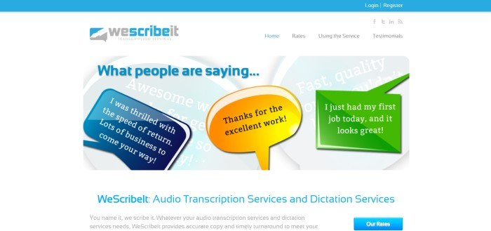 This screenshot of the home page for WeScribeIt has a blue header above a white main section with blue and gray text and a graphic main section showing word bubbles in blue, yellow, and green above a white text section with blue and black text and a blue call to action button.