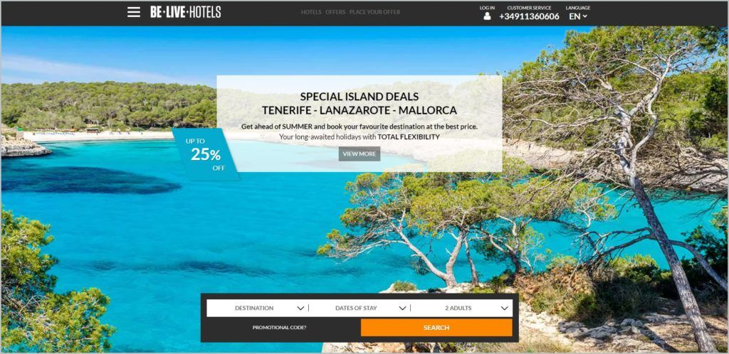 screenshot of Be Live Hotels homepage showcasing an image of the view of the ocean and islands