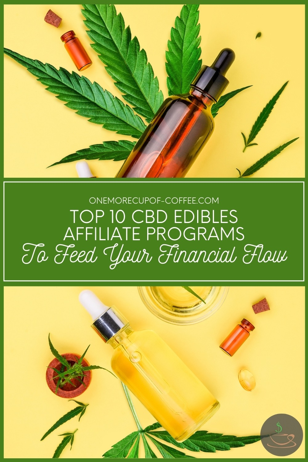 """top view image of a clear bottle and colored bottle with dropper on its side, with cannabis leaves and a couple of orange bottle around it; with text overlay in green banner """"Top 10 CBD Edibles Affiliate Programs To Feed Your Financial Flow"""""""