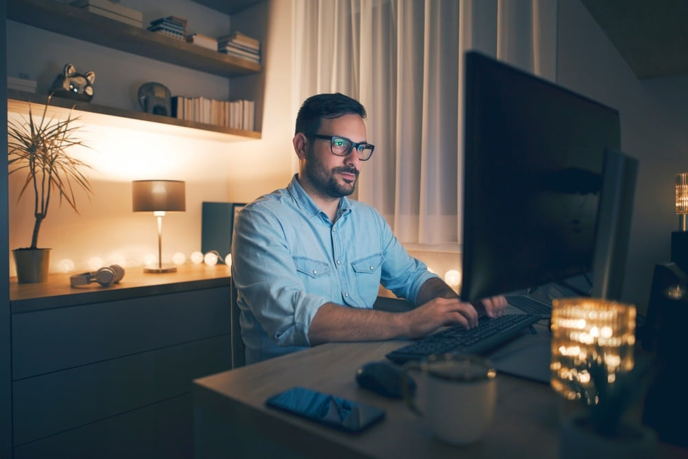 father working online business late at night