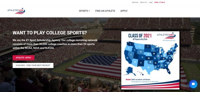This screenshot of the home page for Athletes USA has a white header and navigation bar with black text above a dark filtered photo of a packed outdoor football arena, behind white text, a red and a white call to action button, and a blue map of the United States on the right side of the page.