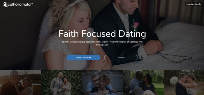 This screenshot of the home page for Catholic Match shows a dark filtered photo of a kneeling wedding couple at an altar, behind white text, with a blue call to action button, above a row of dark-filtered photos of happy couples.