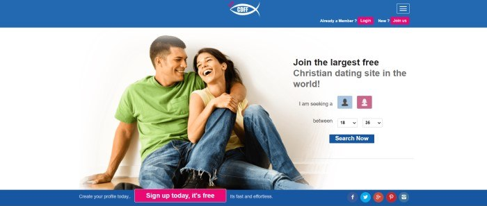 This screenshot of the home page for Christian Dating For Free has a blue header and footer with pink call to action buttons, with a white main section including a photo insert of a smiling couple in jeans, black text, and a blue call to action button.