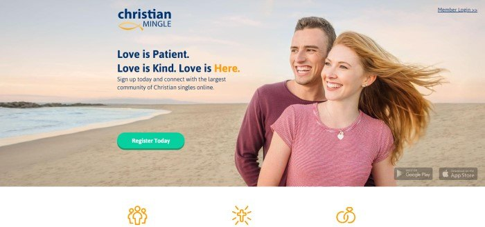 This screenshot of the home page for Christian Mingle has a photo of a smiling couple on a beach behind blue and gold text and a green call to action button.