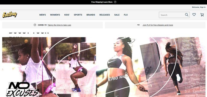 This screenshot of the home page for Eastbay has a dark header, a white navigation bar with black text, and a row of four photos showing a young dark-haired woman using resistance bands, jump roping, and running.