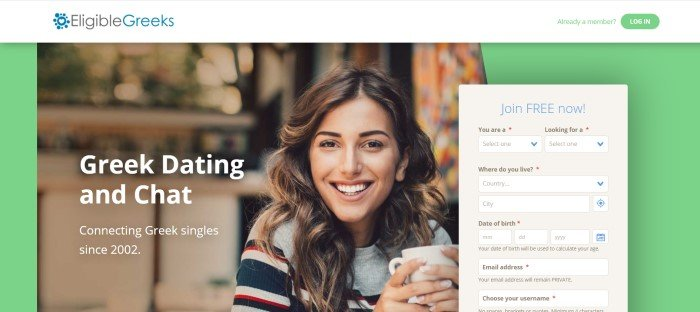 This screenshot of the home page for Eligible Greeks has a white header, a green background, and a large photo of a smiling brunette woman in a striped shirt holding a white coffee cup behind white text and a beige opt-in window.