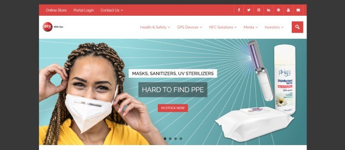 This screenshot of the home page for GTX Corp has a black background surrounding a main section with a red header, a white navigation bar with red text, and a photo of a smiling woman in a white face mask and yellow shirt on the left side of the page in front of an aqua background with sterilizers, sanitizers, and other safety products on the right side and a red call to action button in the middle of the page.