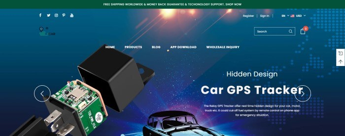 This screenshot of the home page for ICAR has a dark green header above a main section with a teal background behind a photo of a car GPS tracker, along with white text and a graphic of a black car.