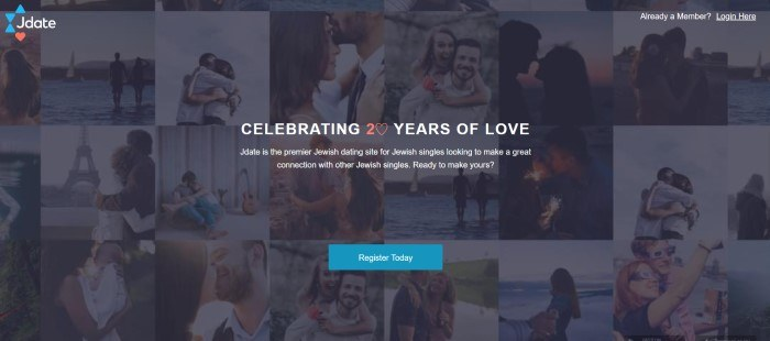 This screenshot of the home page for Jdate has a dark filtered collage of photos showing several smiling couples, behind white text and a blue call to action button.