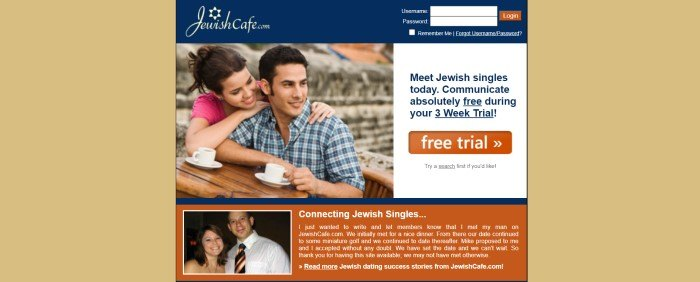 This screenshot of the home page of Jewish Cafe has a gold background behind a blue header, a photo of a smiling couple with white coffee cups next to a white announcement section with blue text and an orange call to action button, and an orange section with white text and another photo of a smiling couple.