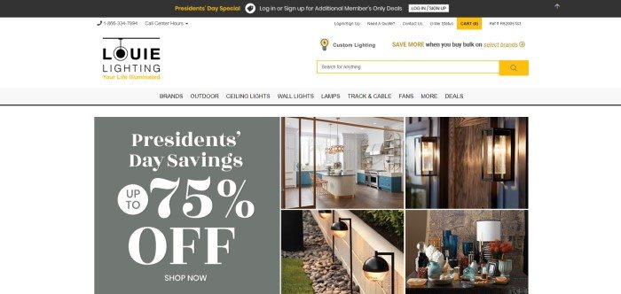 This screenshot of the home page for Louie Lighting has a black header, a white search bar and navigation bar, and a white main section with a gray and white announcement on the left side of the page and four product pictures showing different lighting fixtures on the right side of the page.