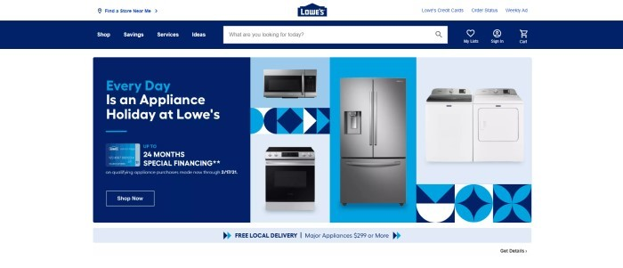 This screenshot of the home page for Lowes has a blue navigation bar and search bar above a white main section with a blue text window containing blue and white text on the left side of the page, with three product photos moving right, containing blue backgrounds and appliances such as a microwave, an oven, a refrigerator, and a washer and dryer set.
