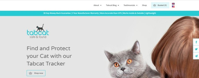 This screenshot of the home page for My TabCat has a white navigation bar, an aqua announcement bar, and a gray main section with a black and aqua logo, along with a photo of a gray cat with golden eyes on a woman's shoulder, and black text above a transparent call to action button with an aqua outline.