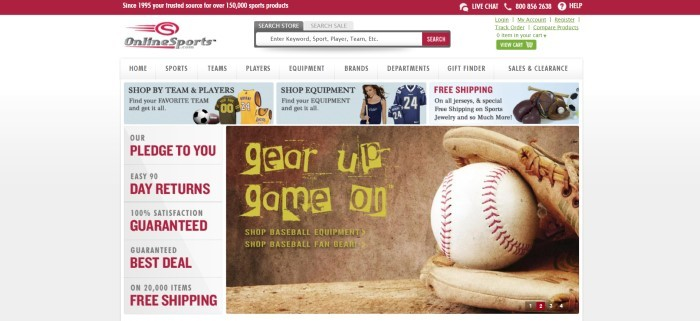 This screenshot of the home page for Online Sports has a red header, a white background with a search bar and navigation bar, a row of light blue advertisements with photos of various sports gear and apparel, a column on the left side of the page with red and black text showing perks, and a brown photo on the right side of the page showing a closeup of a baseball and mitt behind yellow text.