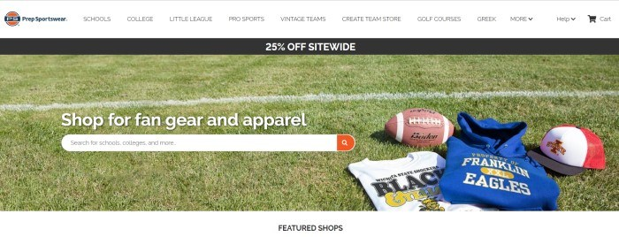 This screenshot of the home page for Premier Events has a white navigation bar, a black sales bar, and a photo of a football field with a football, a gray tee shirt, and a blue hoodie with team logos on them lying on the grass, as well as a search bar and white text.