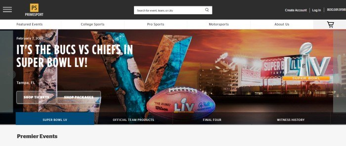 This screenshot of the home page for PrimeSports has a black header and search bar, a white navigation bar with black text, and a multicolored Superbowl announcement featuring a distant photo of a sports arena and a closeup of a football, with white text and transparent call to action but