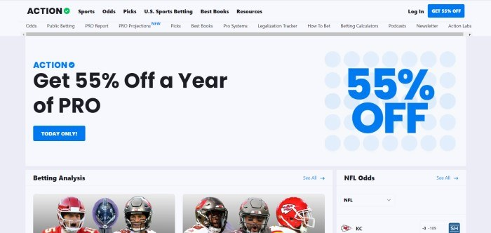This screenshot of the home page for The Action Network has a light gray header and background, black text in the navigation bars, and black and blue text in the white main section, along with a blue call to action button, and a row of two photos showing football players in helmets.