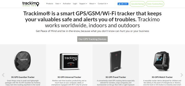 This screenshot of the home page for Trackimo Distribution has a white navigation bar and background with black text, green and white call to action buttons in the upper right corner of the page, a gray call to action button in the center of the page, and a row of product photos along the bottom of the page.