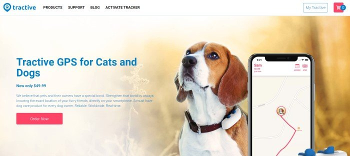 This screenshot of the home page for Tractive has a white navigation bar with a blue logo above a main section that includes a photo of a brown and white dog wearing a Tractive device on its collar next to a GPS screen on a mobile device on the right side of the page and blue text on the left side of the page.