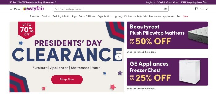 This screenshot of the home page for Wayfair has a purple header, a white navigation bar and search bar, and graphic announcement windows in the main section in red, blue, beige, purple, and gold, announcing several sales, as well as a red call to action button.
