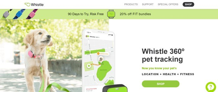 This screenshot of the home page for Whistle has a white header and navigation bar above a green announcement bar including three photos of Whistle products, above a photo on the left side of the page of a yellow puppy wearing a pink collar on a road near a large tree, along with a mobile device showing a screen with a GPS tracking the dog in the center of the page, and black text and a green call to action button on a white background on the right side of the page.