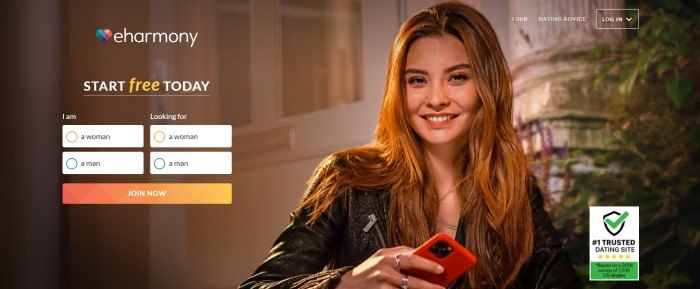 This screenshot of the home page for eHarmony shows a smiling brunette woman holding a red mobile phone, along with the eHarmony logo and an opt-in window with an orange call to action button.