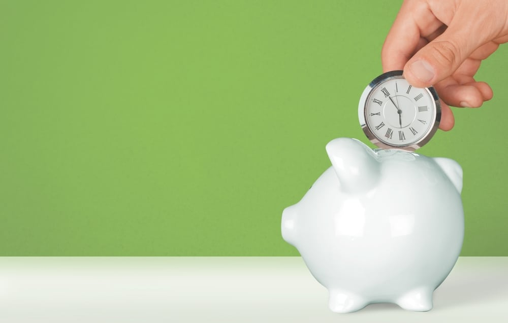value of time being deposited into piggy bank